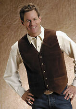 Roper Mens Brown Silky Cow Suede Leather Basic Tall Man Snap Western Vest