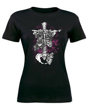 Women Top Goth Punk Rock T-Shirt Alternative Skeleton Gothic Emo Tattoo Skull