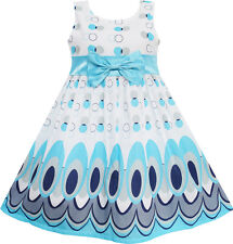 Girls Dress Blue Peacock Tail Cool Summer Girls Clothes Age 4-12 Years