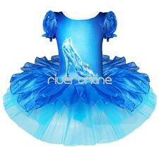 Girls Shiny Crystal Shoes Ballet Tutu Dress Princess Ballerina Dance Costume