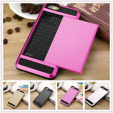 New Hard Hybrid Back Card Storage Slide Case Cover For Apple Iphone Models