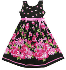 UK Girls Dresses Hot Pink Flower Belt Party Christmas Gift Kids Age 4-12 Years