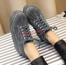 Womens Retro Casual Oxford Creeper Lace-up Platform Med-heel Shoes US4.5-10.5 #