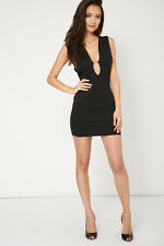Beautiful Ladies Black Plunge Bodycon With Open Back Dress Womens Evenings Party
