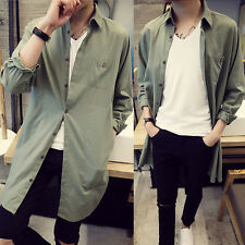 Mens Fashion Long Sleeve Shirts Business Casual Button Youth Tops Army Green