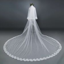 New 3M Ivory/White 2 Layer Lace Edge Bridal Wedding Veil Cathedral With Comb