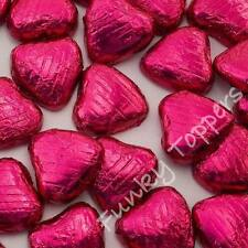 CERISE CHOCOLATE HEARTS Foil Wrapped Belgian Milk Quality Wedding Table Favours