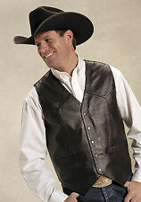 Roper Mens Brown Lamb Touch Nappa Leather Basic Snap L/S Western Vest