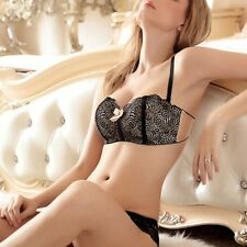 Women's Sexy Embroidery Lace Lingerie Wire Free Push-Up Padded Bra Underwear Set