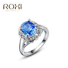 18K White Gold Plated Aquamarine Crystal Wedding Ring Women Jewelry Size 5-9