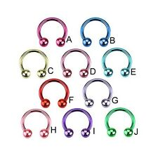 Neon plated stainless steel circular barbell, 16 ga
