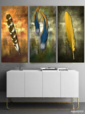 Rustic Feather Set of 3 Canvas Print Brown Blue Yellow Wall Art Decor 60 X 80 CM