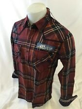 Mens AFFLICTION REBEL Long Sleeve WOVEN Button Down PLAID BURGUNDY SHIRT 10WV472