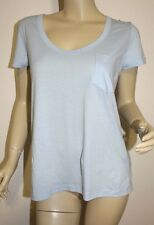 James Perse NWT ~LIGHT BLUE Short Sleeve Scoop Neck Pocket Tee Top ~WLDT3900CU