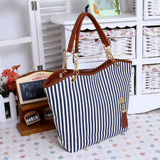 Women Lady Girl Handbags Striped Canvas Hit Color Shoulder Messenger Bag Case