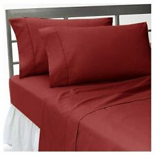 BURGUNDY SOLID ALL BEDDING ITEMS 1000TC 100%EGYPTIAN COTTON US-FULL SIZE