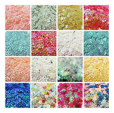 IRIDESCENT FLORAL 10mm & 15mm SEQUINS *19 COLOURS* FLOWER CONFETTI SEWING CRAFTS