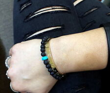 BEADED BRACELET 6MM WITH NATURAL TURQUOISE BEAD BLACK LAVA ONYX BEAD