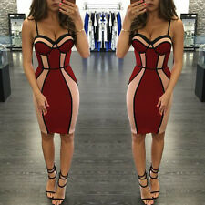 celebrity Women Sexy Color Match BANDAGE BODYCON EVENING PARTY Cocktail DRESS