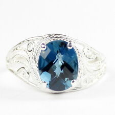 London Blue Topaz, 925 Sterling Silver Ring-Handmade, SR083