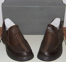 Mens Hush Puppies Sawyer Brown Leather Slip On Shoe