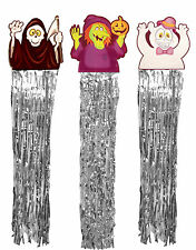 Halloween Wall Door Banner Decoration w/ Foil Streamers Ghost witch grim reaper