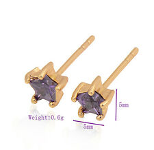 Delicate Star Yellow Gold filled Colorful crystal wedding Stud Earrings