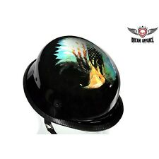 German Shiny Novelty Motorcycle Helmet With Eagle & U.S.A Flag  NEW DEAL