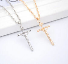 1 Pc 2016 Crucifix Chain Jesus Christ NEW Silver Cross Necklace Pendant Jewelry