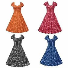 Retro Party Polka Dot Swing 50 60s Housewife Pinup Vintage Rockabilly Lady Dress