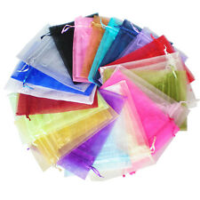 100 Mixed 13x18cm Organza Gift Bags Premium Favour Candy Bags Jewellery Wedding
