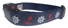 Marconi Maritime Navy Blue Nautical Premium Ribbon Dog Collar NEW! FAST SHIP!