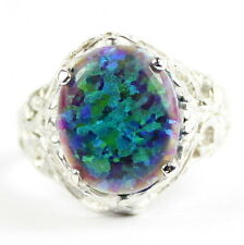 Created Blue Green Opal, 925 Sterling Silver Ring, SR114-Handmade