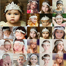 Cute Kids Baby Girl Toddler Lace Flower Rhinestone Hair Band Headwear Headband