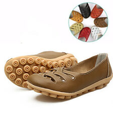 Womens Casual Flats Leather Shoes Oxfords Hollow Ballet Boat Peas Lazy Loafers