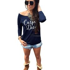 New Fashion Sexy Womens Long Sleeve Latter Print Loose Bottoming T-Shirt WT8802