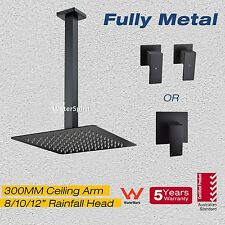"8/10/12"" Rainfall Head  Black Square Ceiling Shower Arm Mixer Twin Taps Set SUS"
