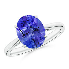 Natural Solitaire Oval Tanzanite Cocktail Ring 14k Gold / Platinum Size 3-13