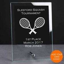 Personalised Squash Glass Plaque Trophy Award - Engraved Squash Trophies