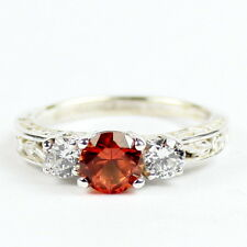 Created Padparadsha Sapphire w/CZ Accents, 925 Sterling Silver Ring, SR254