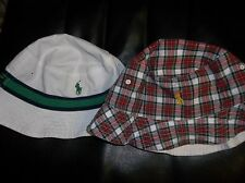 NWT Mens Small/Medium Polo Ralph Lauren Reversible Bucket Hat New White/Plaid