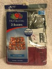 FRUIT OF THE LOOM, 3 BOYS LARGE 14-16, BOXERS, PRINTS AND SOLIDS