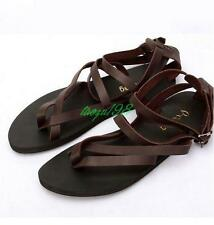 Mens flip flops Leather strap gladiator thongs Sandals casual Shoes buckle flat