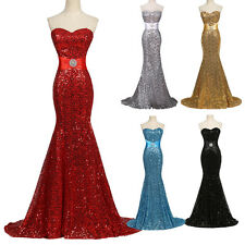 Sequins Mermaid Sexy Evening Ball Gown Bridesmaids Formal Cocktail Wedding Dress