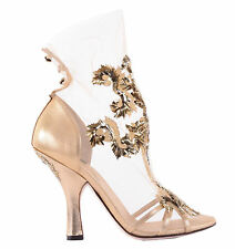 DOLCE & GABBANA RUNWAY Baroque Gold Embroidery Pumps Shoes Heels 02885