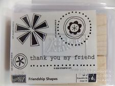 Stampin Up Friendship Shapes Wood Mount Stamp Set of 4