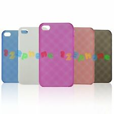 BRAND NEW PLASTIC MATTE RHOMBUS HARD BACK COVER CASE FOR IPHONE 4 / 4S