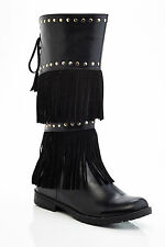 girls/kids knee high tall boots with side zipper fringes riding boots studs