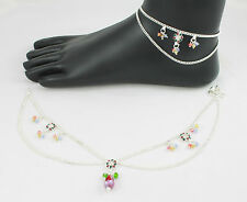 Pair of Designer Silver Tone Anklet / Payal Indian Bollywood