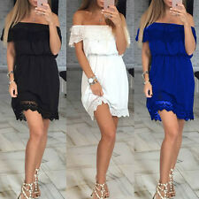 Sexy Women's Lace Casual Off Shoulder Party Evening Cocktail Short Mini Dress